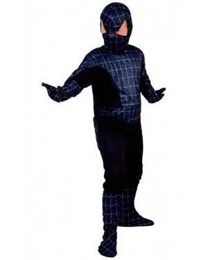 Costume Spider Nero-Eroe Ragno. Bambini Tg. 4 A12 Anni