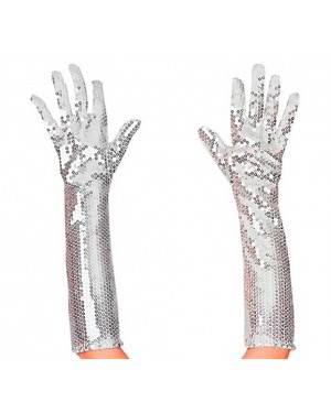 Lunghi Guanti in Paillettes Argento 45cm. Per Adulti