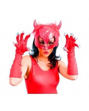 Maschera Diavoletta Rosso con Guanti per Carnevale