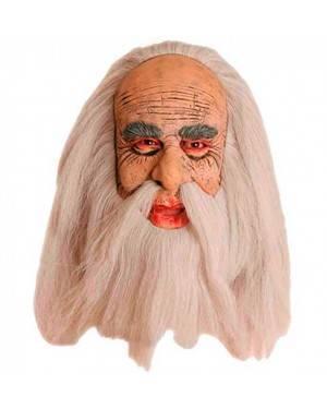Maschera Vecchio con Capelli e Baffi in Lattice