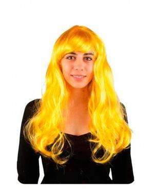 Parrucca Liscia Lunga Gialla Fluo