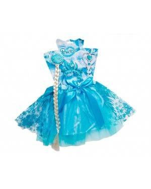 Set Accessori Princessa Azzurra (Treccia, Tiara, Bacchetta, Gonna)