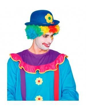 Cappello Bombetta Pagliaccio Blu per Carnevale
