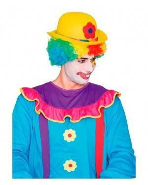 Cappello Bombetta Pagliaccio Giallo per Carnevale