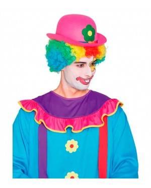 Cappello Bombetta Pagliaccio Rosa per Carnevale