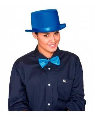 Cappello Cilindro Satinato Azzurro per Carnevale