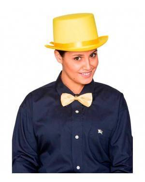 Cappello Cilindro Satinato Giallo per Carnevale