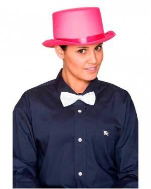 Cappello Cilindro Satinato Rosa per Carnevale