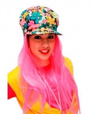 Cappello Hippie con Capelli Fuxia Per Adulti per Carnevale