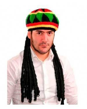 Cappello Rasta / Bob Marley con Trecce per Carnevale