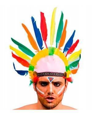 Copricapo Indiano 10 Piume (2 Unità) per Carnevale