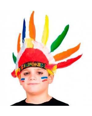 Copricapo Indiano 9 Piume Bambini (3 Unità) per Carnevale