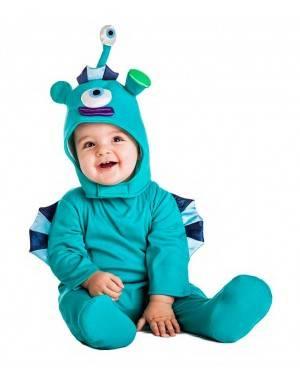 Costume Alieno Azzurro Taglia 0-6 Mesi per Carnevale