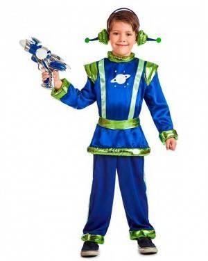 Costume Alieno Blu Bambino Taglia 3-4 Anni per Carnevale