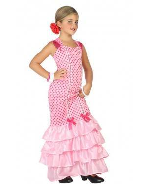 Costume Ballerina di Flamenco Rosa Bambna