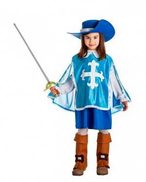 Costume Moschettiera Blu Taglia 1-2 Anni per Carnevale