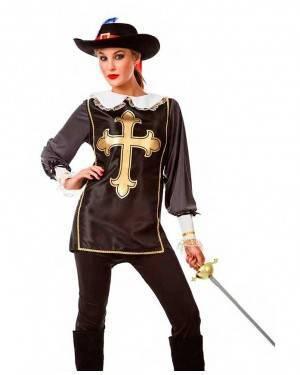 Costume Moschettiera Nera Taglia M-L per Carnevale