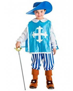 Costume Moschettiere Blu Taglia 1-2 Anni per Carnevale