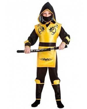 Costume Ninja Giallo Taglia 10-12 Anni per Carnevale