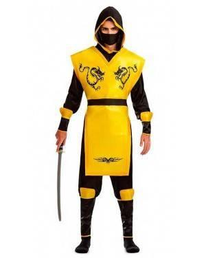 Costume Ninja Giallo Taglia M-L per Carnevale