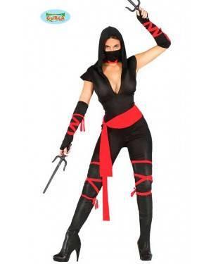 Costume Ninja Nero / Rosso Donna per Carnevale