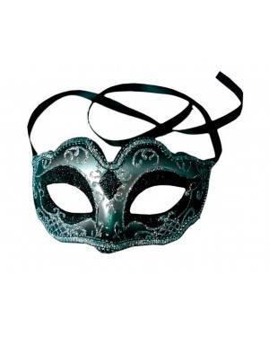 Maschera Argento/Nero (3 Unitá) per Carnevale