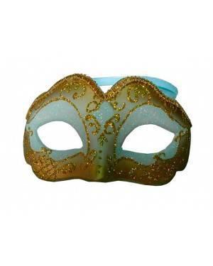 Maschera Bianco/Oro (3 Unitá) per Carnevale