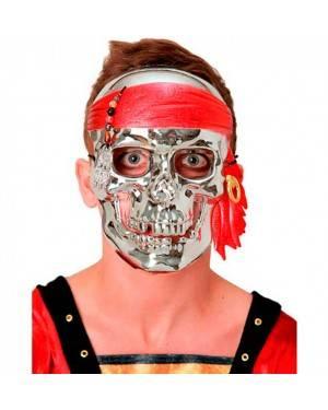 Maschera Cranio Argento 21x15 cm (3 Unitá) per Carnevale