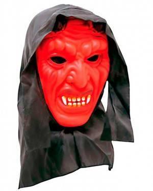 Maschera Diavolo con Cappuccio in Plastica per Carnevale