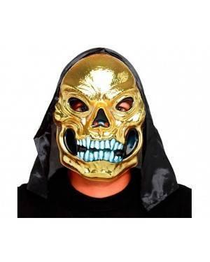 Maschera Oro Teschio con Cappuccio (3 unità) per Carnevale