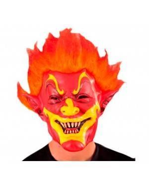 Maschera Pagliaccio di Fuoco in Lattice per Carnevale