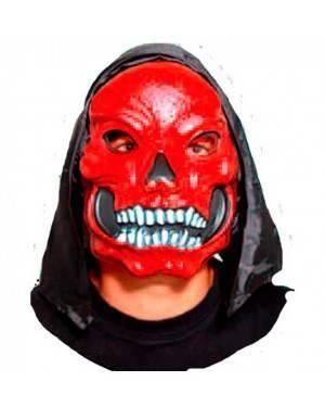 Maschera Rosso Teschio con Cappuccio per Carnevale