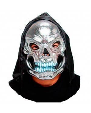 Maschera Silver Teschio con Cappuccio per Carnevale