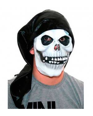 Maschera Teschio con Cappuccio in Lattice per Carnevale