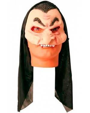 Maschera Vampiro con Cappuccio in Lattice per Carnevale