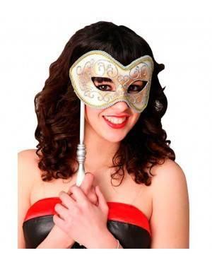Maschera Veneziana con Asta per Carnevale