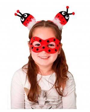 Mascherina Coccinella e Clip per Cappelli per Carnevale