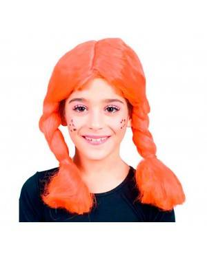 Parrucca Arancione con Trecce Bambina per Carnevale