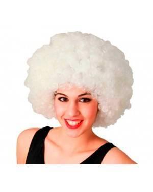 Parrucca Bianca Afro Fluorescente per Carnevale