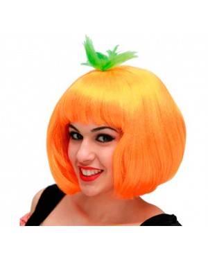 Parrucca Corta Fluorescente Arancio per Carnevale