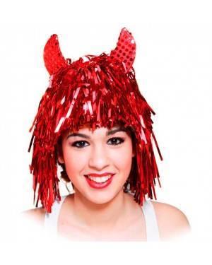 Parrucca Diavoletta di Glitter con Corna per Carnevale