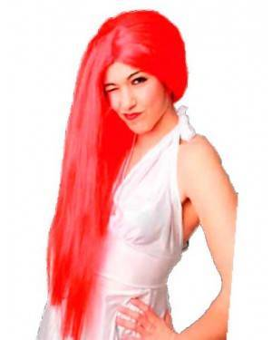 Parrucca Lunga Rosso per Carnevale
