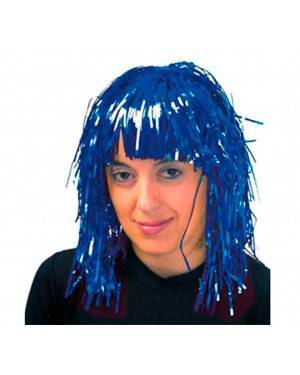 Parrucca Metallizzata Corta Azzurro.