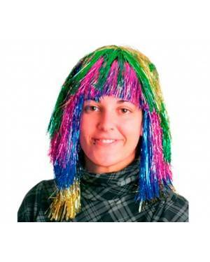 Parrucca Metallizzata Lunga Multicolor per Carnevale