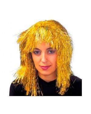 Parrucca Metallizzata Lunga Oro per Carnevale