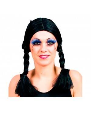 Parrucca Nera con Trecce per Carnevale