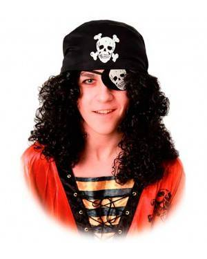 Parrucca Pirata con Benda e Bandana