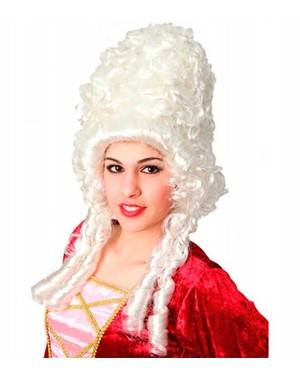 Parrucca Pompadour Bianca Per Donna per Carnevale
