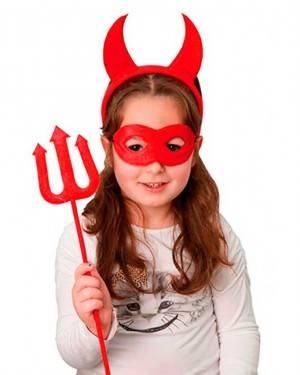 Set Diavolessa. Cerchietto Diavolo con Corna, maschera e Forcone